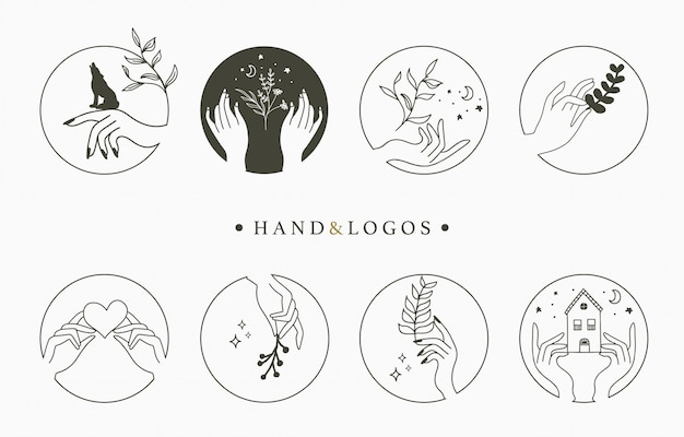 Beauty occult logo collection with hand,heart,flower,house in circle. Premium Vector