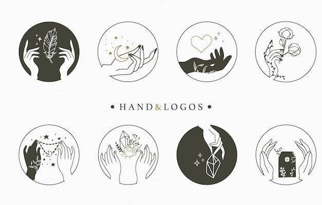 Красота оккультной логотип коллекции с руки, сердце, цветок, дом в кругу. Premium векторы