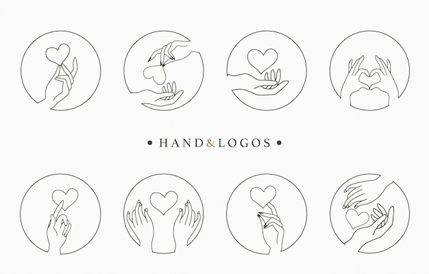 Beauty occult logo collection with hand,heart Premium Vector