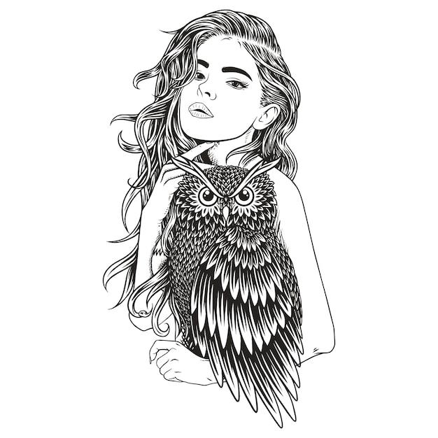 Beauty owl girl Premium Vector