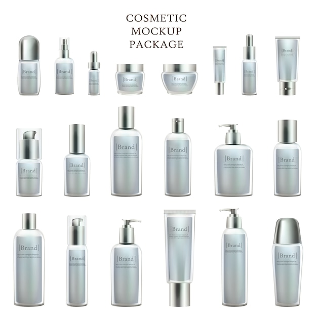 Beauty product bottles and containers collection Premium Vector