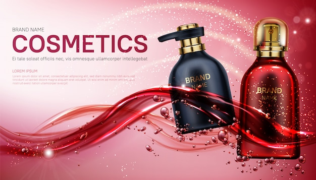Beauty product cosmetics bottles banner. Free Vector
