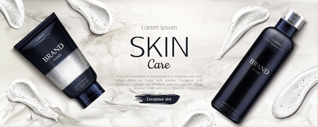 Beauty product line with cream smear brush strokes on marble Free Vector