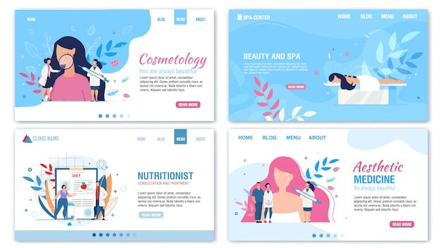 Beauty proper nutrition services landing page set Premium Vector