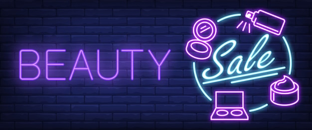 Beauty sale neon sign Free Vector