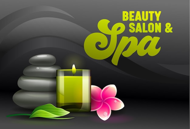 Рекламный баннер салона красоты, вид спереди атрибутов спа, таких как ароматическая свеча, массажные камни, листья эвкалипта и цветы франжипани плюмерия на черном фоне Premium векторы