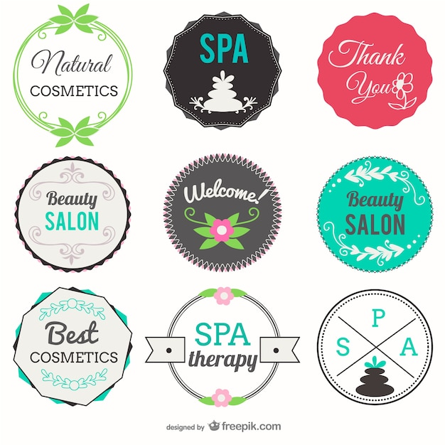 Beauty Salon And Spa Badges Free Vector