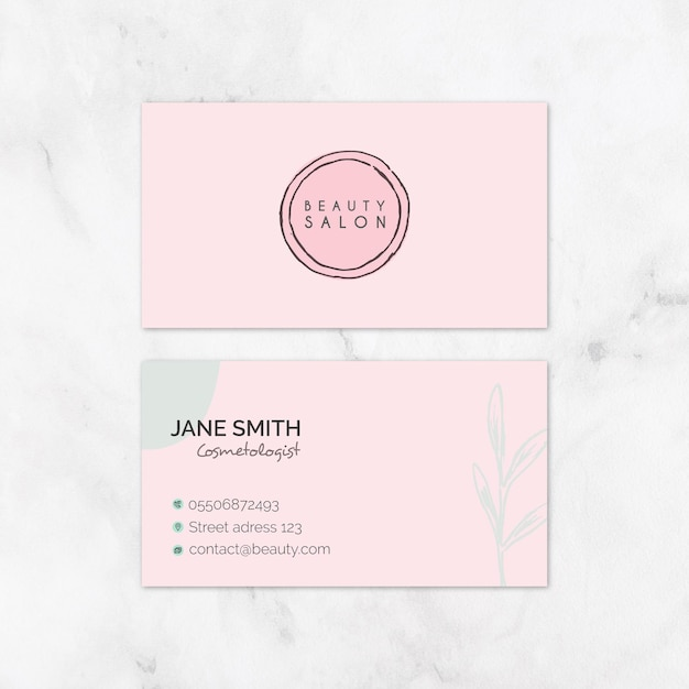 Beauty salon business card Free Vector