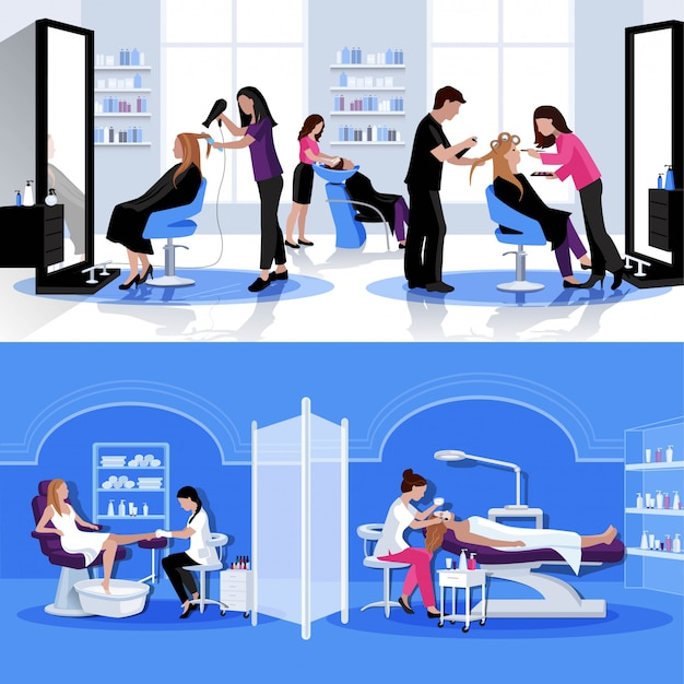 Beauty salon colorful composition with haircut styling pedicure cosmetology Free Vector