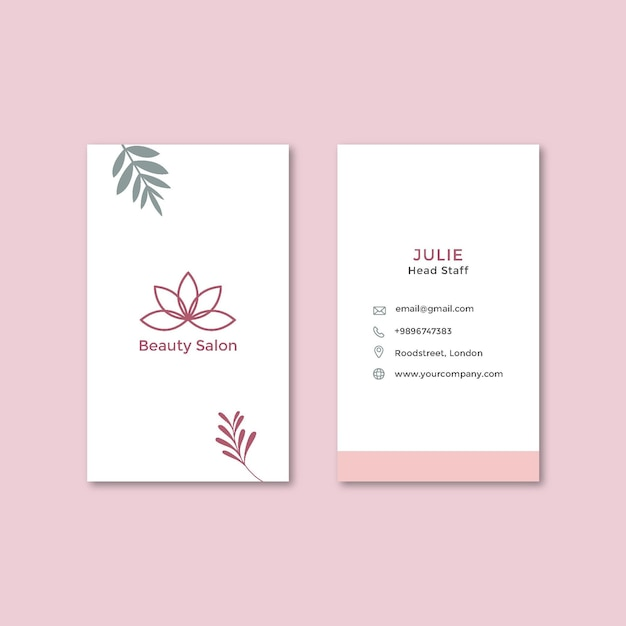 Beauty salon double-sided vertical business card Premium Vector