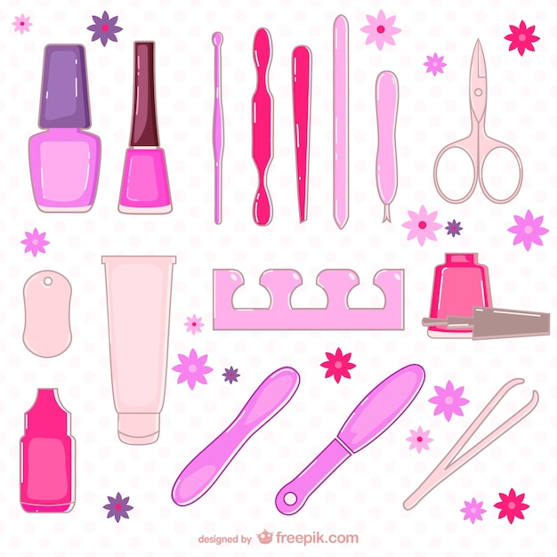Beauty salon elements collection Free Vector