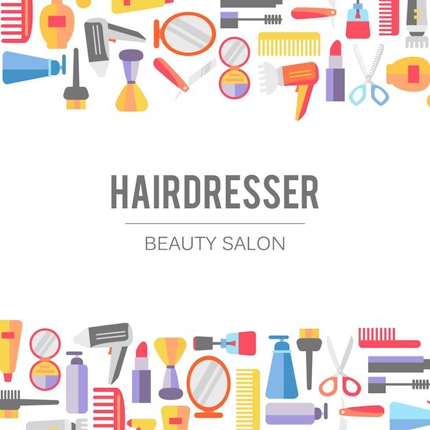 Beauty In Frame: Beauty Salon Elements Frame Vector