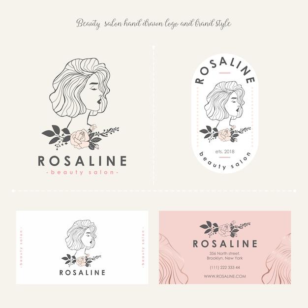 Салон красоты женский логотип, фирменный стиль Premium векторы