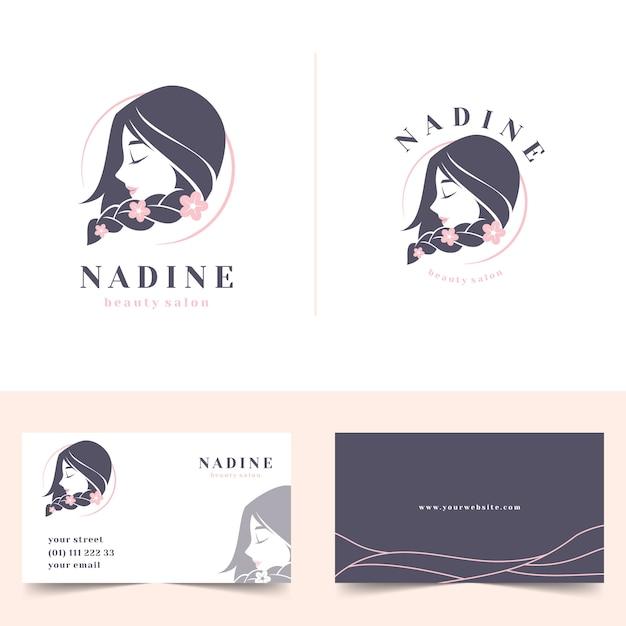 Beauty salon feminine logo with stationery business card Premium Vector