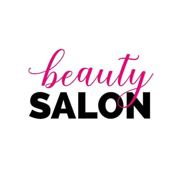 Beauty salon inscription with swirls Premium Vector