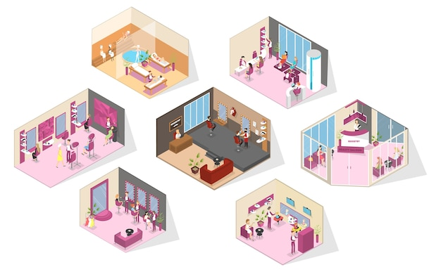 Beauty salon interior. making haircut, fashion manicure and pedicure, spa, cosmetology and others. barber shop for men. glamour lifestyle. isolated vector isometric illustration Premium Vector