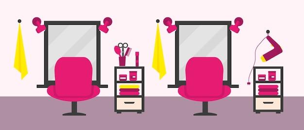 家具と設備のあるビューティーサロンインテリア。図。 Premiumベクター