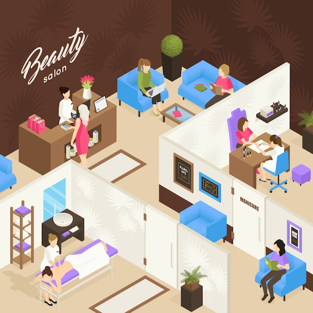 Beauty salon isometric design concept Free Vector
