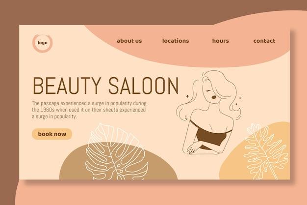 Modello di pagina di destinazione del salone di bellezza Vettore gratuito