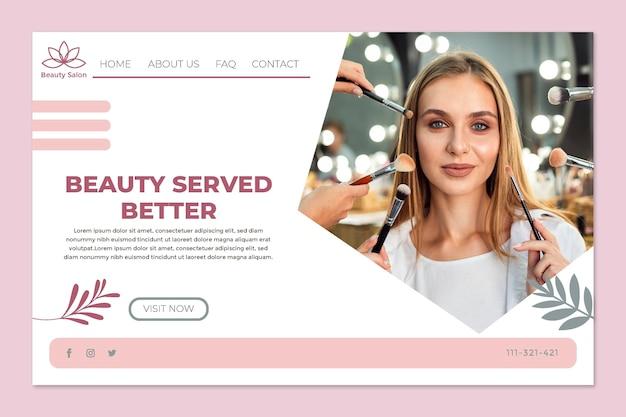 Шаблон целевой страницы салона красоты Бесплатные векторы