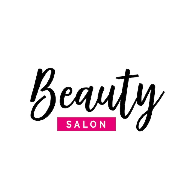 Beauty salon lettering with pink element Premium Vector