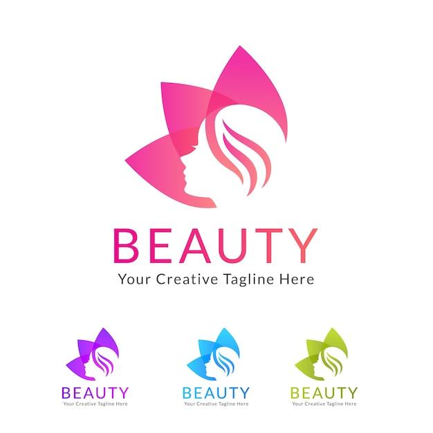 beauty salon logo with flower vector premium download