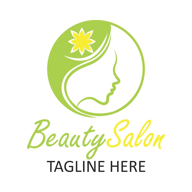 Beauty salon logo with woman design Premium Vector