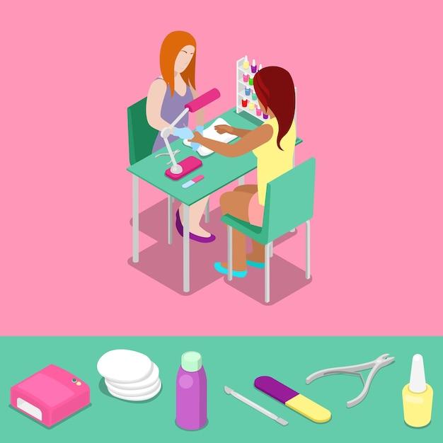 Beauty salon master makes girl manicure isometric concept. vector 3d flat illustration Premium Vector