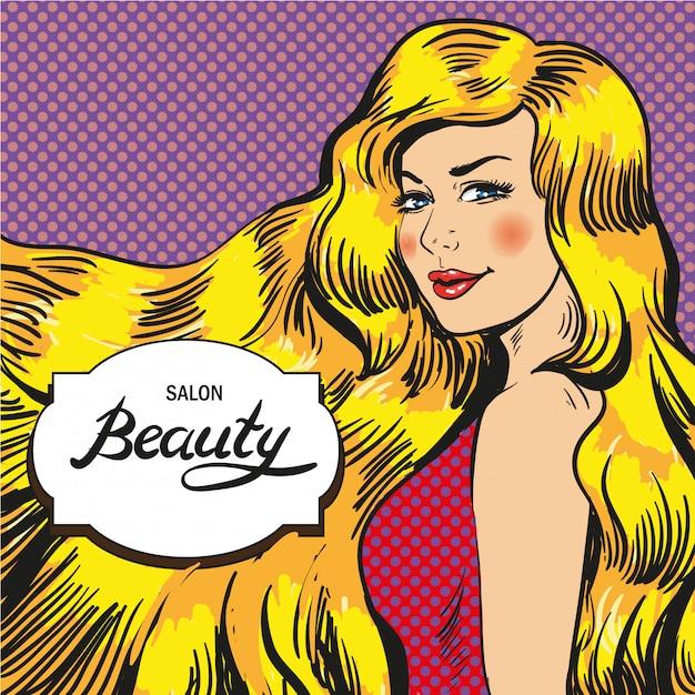 Beauty salon in pop art style Premium Vector