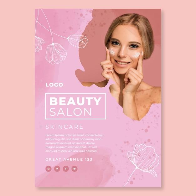 Modello di poster di salone di bellezza Vettore gratuito