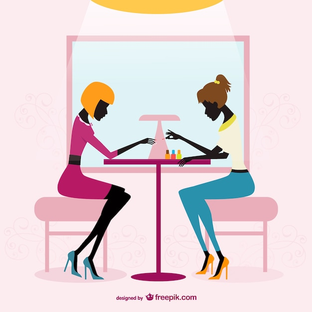 Beauty salon silhouettes Free Vector