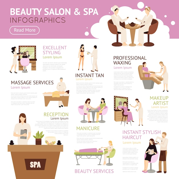 Beauty salon spa people infographics Free Vector