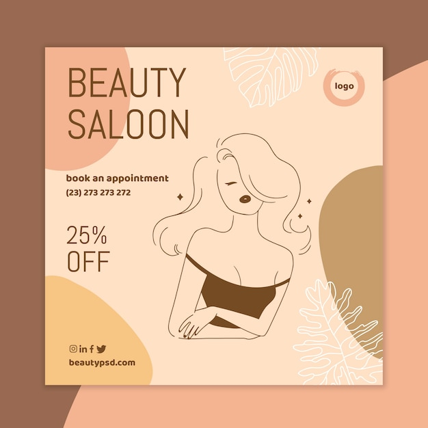 Beauty salon square flyer template Free Vector