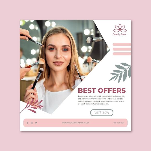 Beauty salon square flyer template Premium Vector