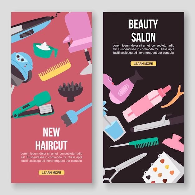 Beauty salon tools banners Premium Vector