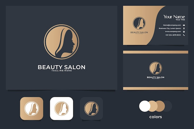 Beauty salon with women head logo design and business card. good use for salon and spa logo Premium Vector