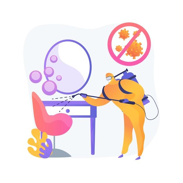 美容院衛生抽象的な概念図。ヘアサロンとネイルサロン、各クライアントの訪問後に完全に消毒、使い捨て用品、社会的距離、表面を拭く 無料ベクター