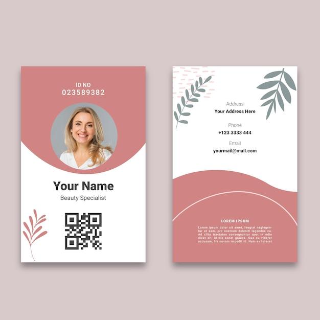 Beauty saloon id card Free Vector