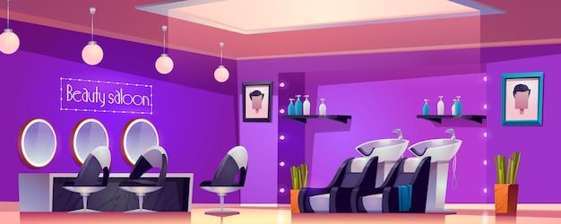 Интерьер салона красоты, пустая комната-студия для стрижки и ухода с мебельным столом Бесплатные векторы