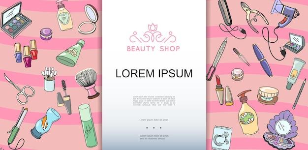 Modello disegnato a mano variopinto del negozio di bellezza con l'illustrazione dei prodotti cosmetici e di trucco Vettore gratuito