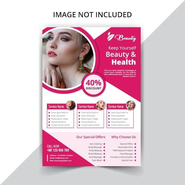 Beauty spa flyer  template Premium Vector