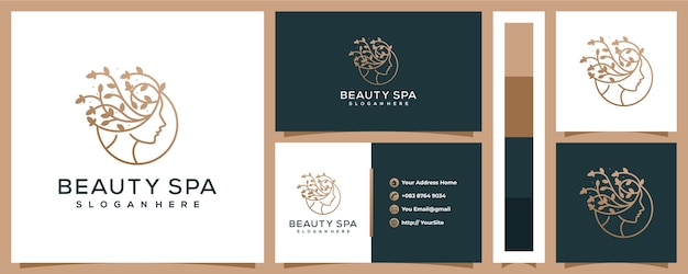 Beauty spa woman leaf logo  with business card template Premium Vector
