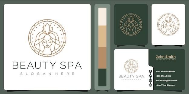名刺テンプレートと美容スパ女性高級ロゴ Premiumベクター