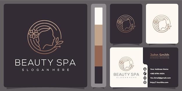 名刺テンプレートと美容スパ女性高級モノラインロゴ Premiumベクター