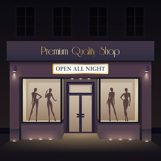 Beauty store front view template Free Vector