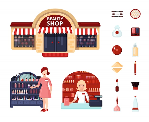 Beauty store icon set Free Vector