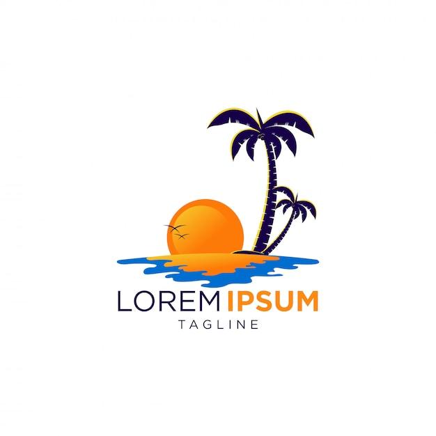 Beauty sunset logo Premium Vector