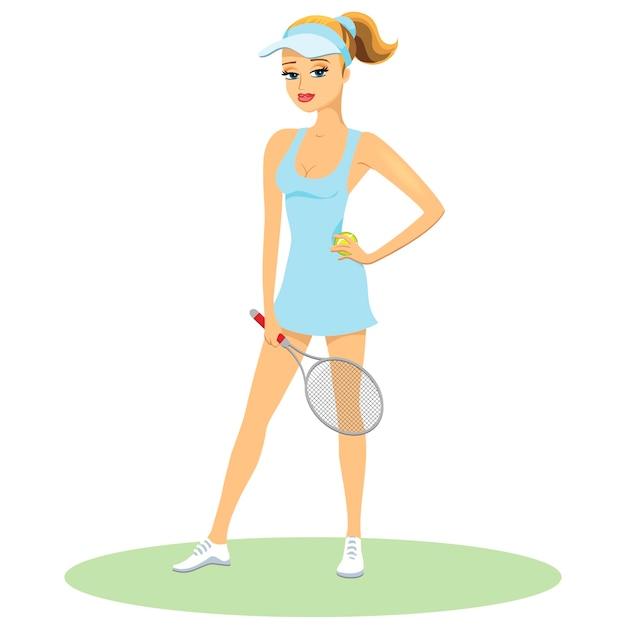 Bellezza in uniforme da tennis che indossa un picco con i capelli in una coda di cavallo in posa tenendo una racchetta Vettore gratuito