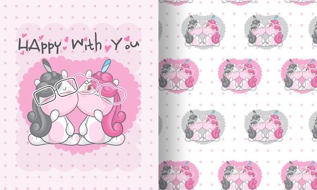 Beauty unicorn lovely seamless pattern illustration for kids Premium Vector