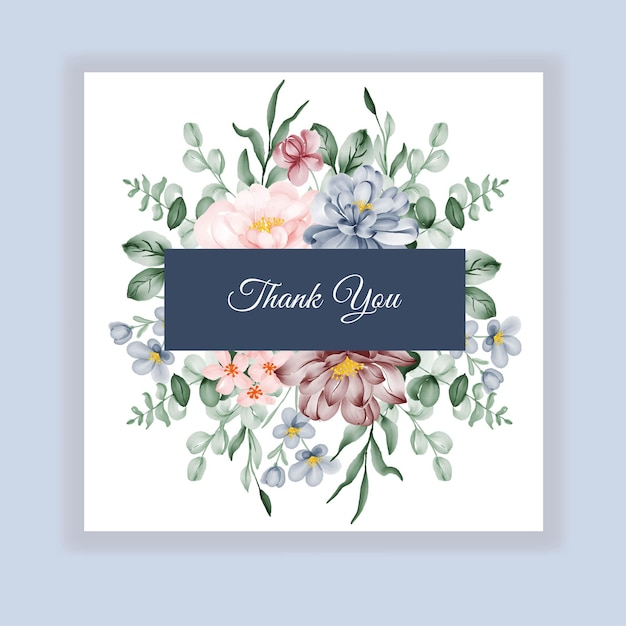 Beauty wedding floral label invitation card with pink blue burgundy flowers